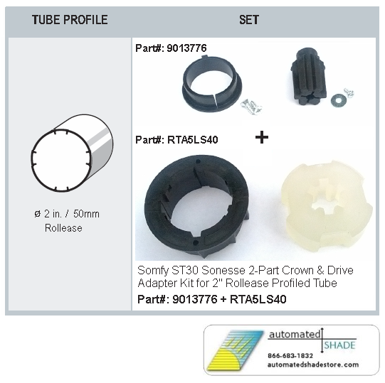 Somfy 9013776 St30 Crown Amp Drive Kit For Rollease 2 Quot Tube