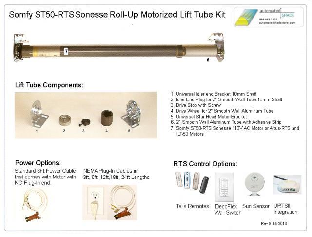 Heavy Duty 110v Ac Somfy St506 Sonesse Rts Lift Tube Kit