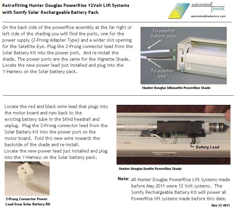 Hunter Douglas Powerrise 12v Dc Volt Reloadable Aa Battery