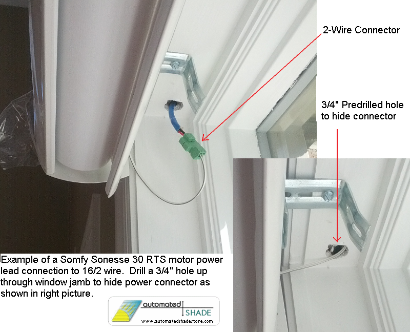 Low voltage 4 wire shade motor power connector automated for How to install motorized blinds