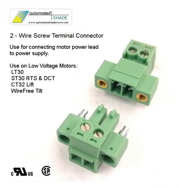 Use-2 Wire | Low Voltage 2 Wire Shade Motor Power Connector Automated Shade