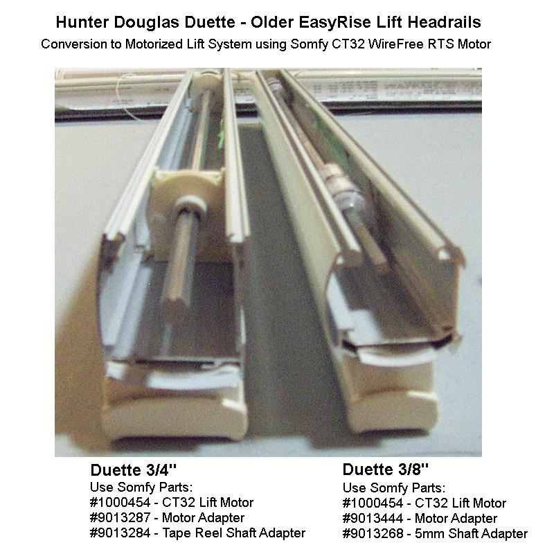 Automated shade store somfy ct32 lift motor headrail for Hunter douglas motorized blinds parts