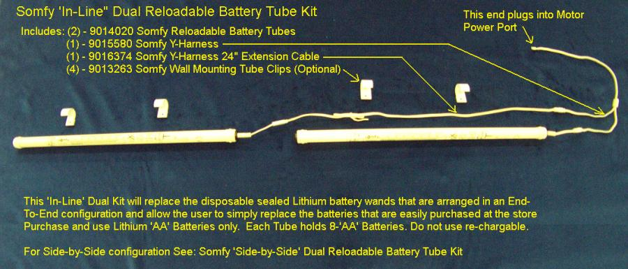Somfy In-Line Dual Reloadable Battery Tube Kit - Automated